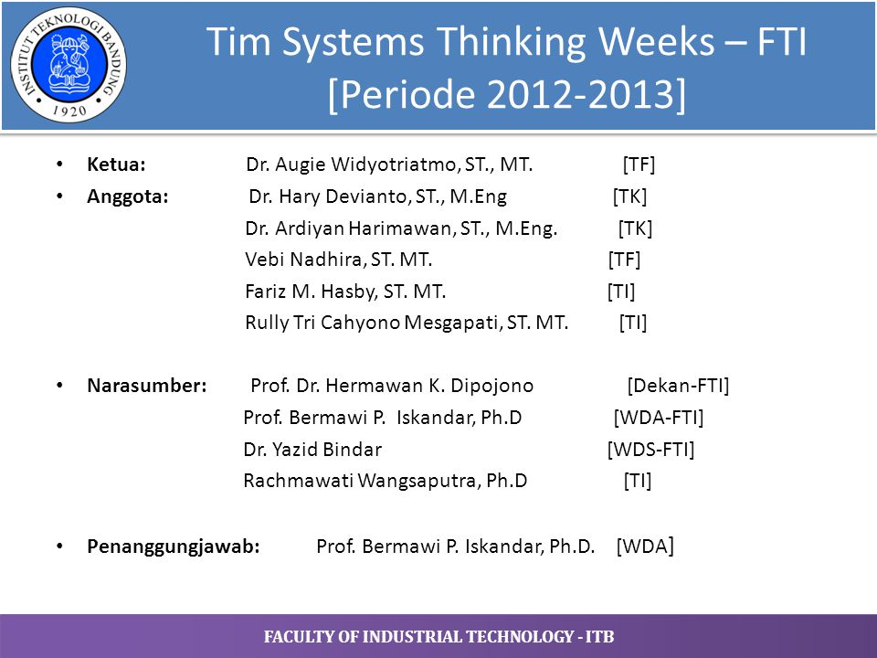 Tim Systems Thinking Weeks – FTI [Periode 2012-2013]